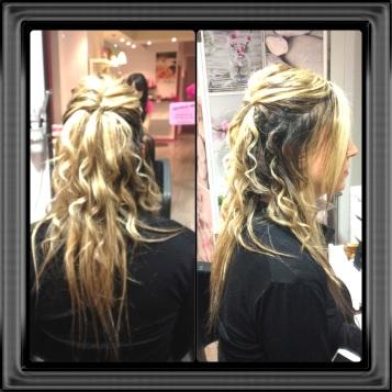 exemple de coiffure élégante sur cheveux longs bouclés